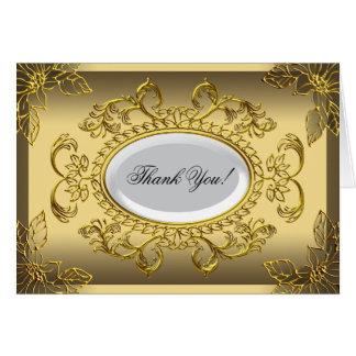 Thank You Card Elegant Elite Gold Damask