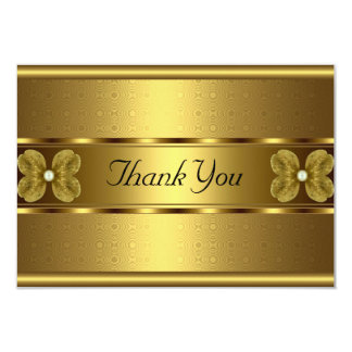 "Thank You Card Elegant Roll Gold Floral 3.5"" X 5"" Invitation Card"