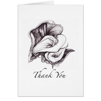 Thank You card featuring calla lilies illustration