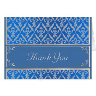 Thank You Card--Fleur de Lis -Light Blue & Silver Card