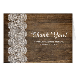 Thank You card for a rustic wedding in wood lace