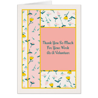 Thank You Card for Volunteer with Vintage Flowers