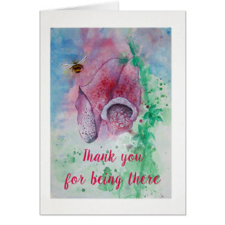 Thank you card, Foxglove and Bee Card