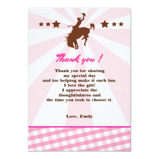 Thank You Card Girl Birthday Rodeo Cowgirl Pink