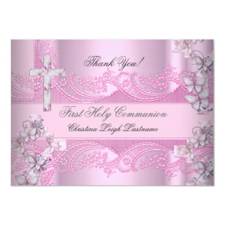 Thank You Card Girl First Holy Communion Lace Pink