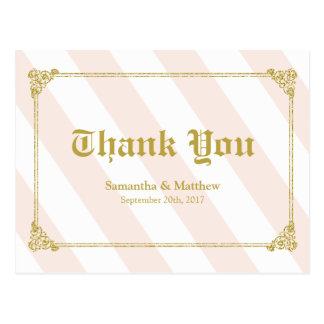 Thank You card Gold Glitter Look Postcard