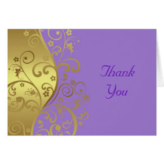 Thank You Card--Gold Swirls & Lavender Card