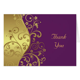 Thank You Card--Gold Swirls & Red Violet Card