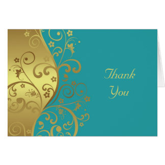 Thank You Card--Gold Swirls & Teal Card