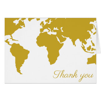 Thank You Card - Gold World Map