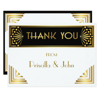 Thank You Card,Great Gatsby,elegant,chic,white Card