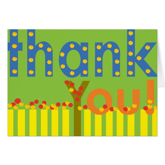 Thank You Card green yellow red & golden apple