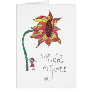 Thank you card - ink sunflower
