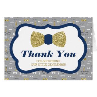 Thank You Card, Little Gentleman, Faux Glitter Card