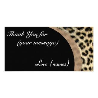 Thank You Card Pack of 10 - Leopard Print Custom Photo Card