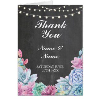 Thank You Card Pastels Succulents Chalk Wedding