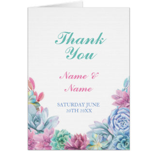 Thank You Card Pastels Succulents Wedding