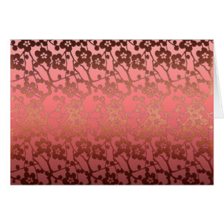 Thank you card pattern pink coral faux gold