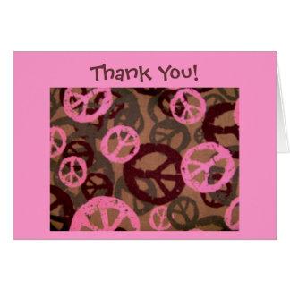 Thank You! Card-Peace Signs/Camo Look Design Card