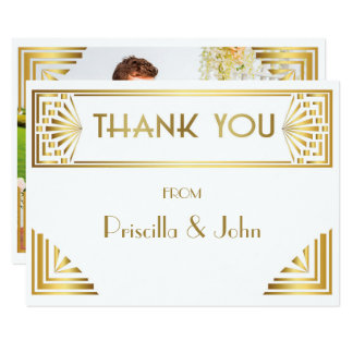 Thank You Card,Photo Back,Great Gatsby,white gold Card