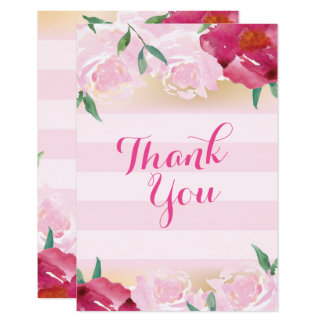 Thank You Card Pink Flowers & Stripes