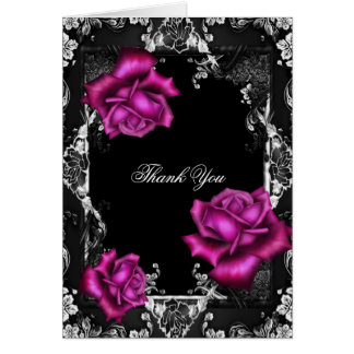 Thank You Card Pink Roses Black Silver