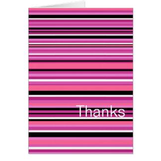 Thank You Card Pink Stripe