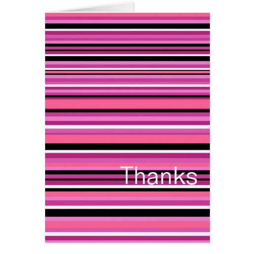 Thank You Card Pink Stripe