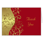 Thank You Card--Red & Gold Swirls Card