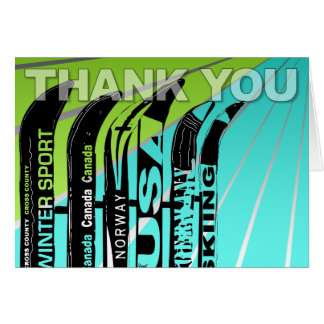Thank You Card Ski Snow Blade Winter Sport