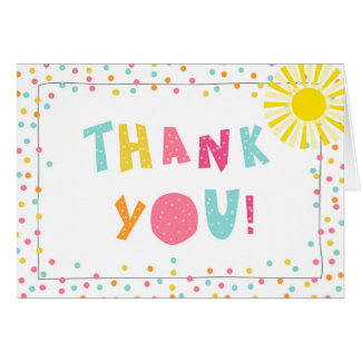 Thank you card Sunshine pink mint Summer confetti
