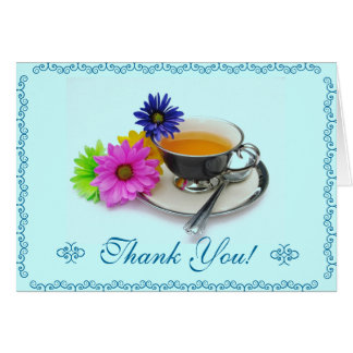 Thank you card teacup and daisies