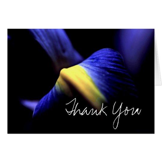 Thank You Card (Template) Iris Floral Macro Blue