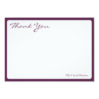 "Thank You Card // The Plum Bouquet Collection 5"" X 7"" Invitation Card"