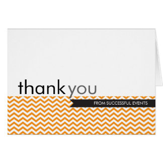 THANK YOU CARD trendy modern chevron stripe orange