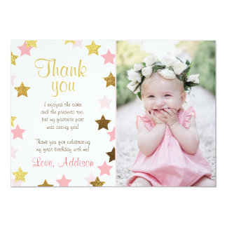 Thank You Card Twinkle Little star Pink Gold Girl