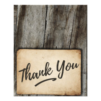 Thank You card -  vintage, wood background, rustic