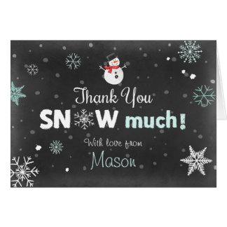 Thank you card Winter Onederland Snowman Mint Blue