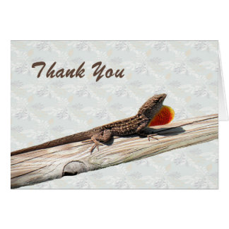 Thank You Card with Brown Anole Lizard Blank