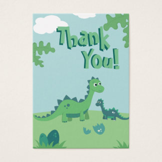 Thank you card with cute dinosaur mommy and kid.
