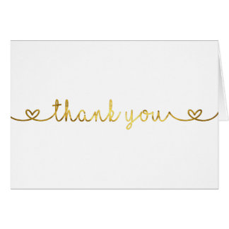 Thank You Card with gold foil font