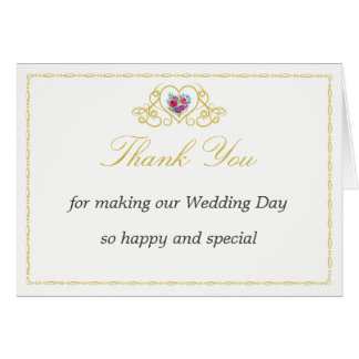 Thank You Card with Heart & Flowers Graphics