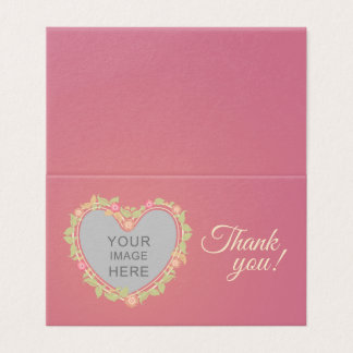 Thank you card with heart-shaped floral frame