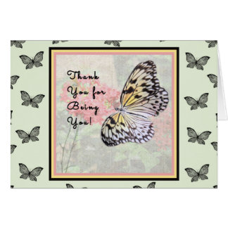 Thank You Card with Paper White Butterfly