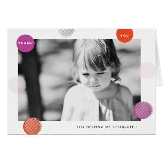 Thank You Card with photo and bright confetti dots