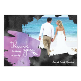 """Thank You Card with Photo Watercolor Purple Black 3.5"""" X 5"""" Invitation Card"""
