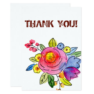 Thank you card with summer flowers