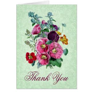 Thank You Card with Vintage Hollyhock Blooms