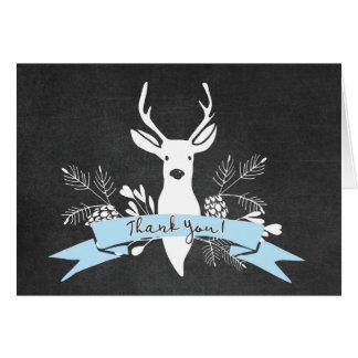 Thank You Card, Woodland Deer Chalkboard, Blue Card