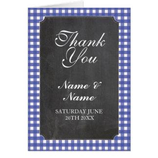 Thank You Cards Bridal Blue Check Wedding Chalk